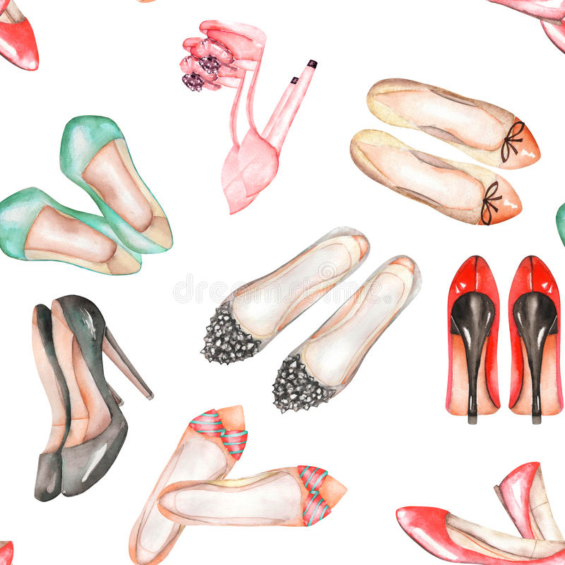 En sömlös vattenfärgmodell med kvinnornas sommarskorna stock illustrationer