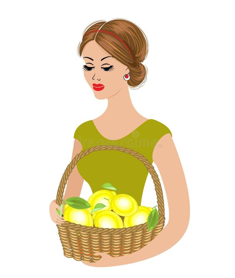 En söt dam rymmer en korg med citroner Mogna och saftiga frukter Flickan är ung och härlig ocks? vektor f?r coreldrawillustration royaltyfri illustrationer