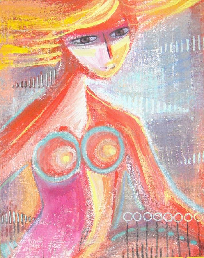 En söt le fantasiflicka Stående för skönhetnärbildkvinnlig royaltyfri illustrationer