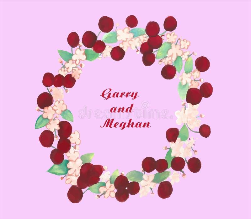 En sötsak och en gullig sommarbröllopinbjudan från Harry och Megan vektor illustrationer
