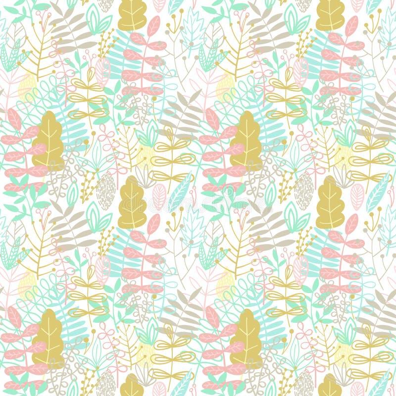 En s?ml?s modell av tecknad film hand-drog blom- best?ndsdelar och sidor Illustration i blåa, bruna, rosa, gröna och gråa skuggor vektor illustrationer