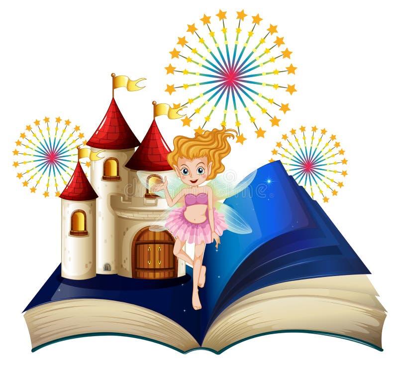 En sagobok med en fe, en slott och fyrverkerier royaltyfri illustrationer