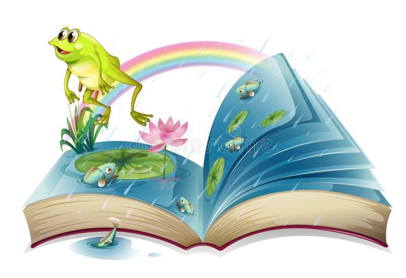 En sagobok med en groda och fiskar på dammet royaltyfri illustrationer