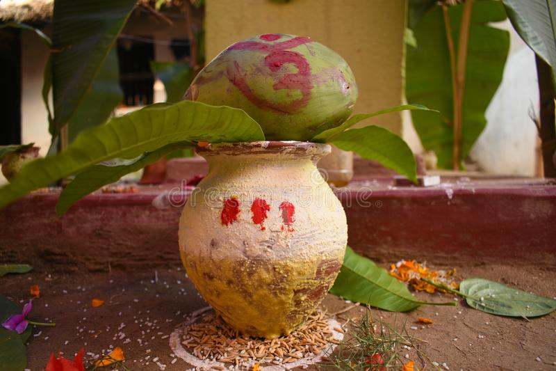 En sakral skyttel med mangosidor och den gröna kokosnöten som används allmänt i förbindelseceremoni eller att tillbe i Indien royaltyfria bilder