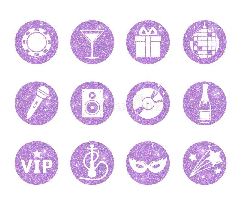 En samling av att moussera violeten blänker stiliserade utsmyckade nattklubb- och particirkelsymboler Musik ljud, drink, vattenpi stock illustrationer