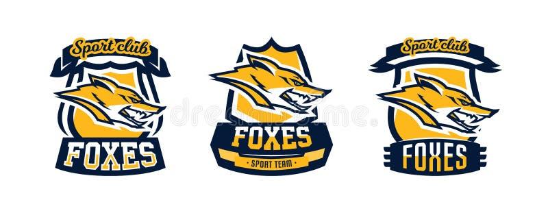 En samling av den färgrika, listig och farlig rovdjuret för logoer, för emblem, för huvud för räv, skoginvånaren vektor vektor illustrationer