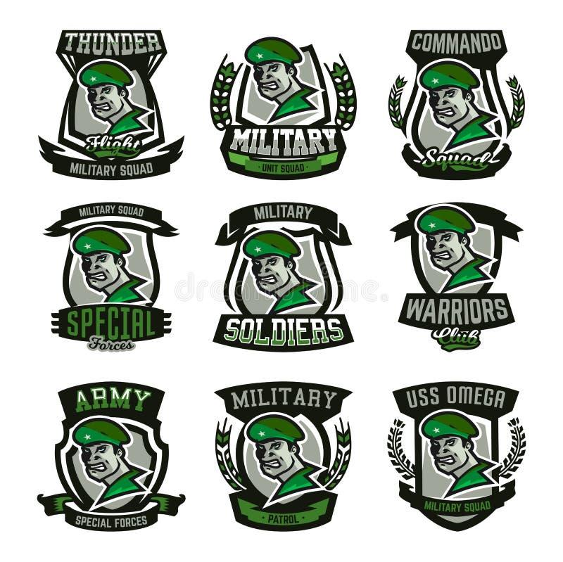 En samling av emblem, logoer, militär man royaltyfri illustrationer