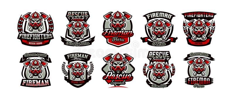 En samling av färgrika logoer, emblem, etiketter, brandmannen och det farliga jobbet Dödlig uppgift, ett farligt yrke, skalle royaltyfri illustrationer