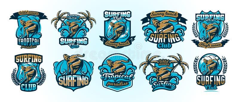En samling av färgrika logoer, emblem, etikettsurfaredrivor på vågorna, stilfull bokstäver, ställde in av utskrift på T royaltyfri illustrationer