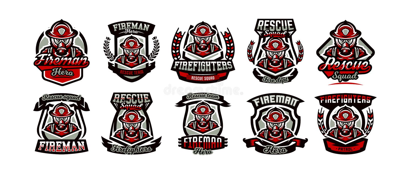 En samling av färgrika logoer, emblem, klistermärkear, en brand i form av, ett yrke, ett farligt jobb, en gasmask och royaltyfri illustrationer