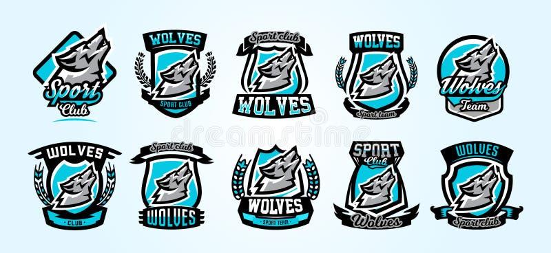 En samling av färgrika logoer, emblem, varg som tjuter på månen, en aggressiv rovdjur av skogvektorn stock illustrationer