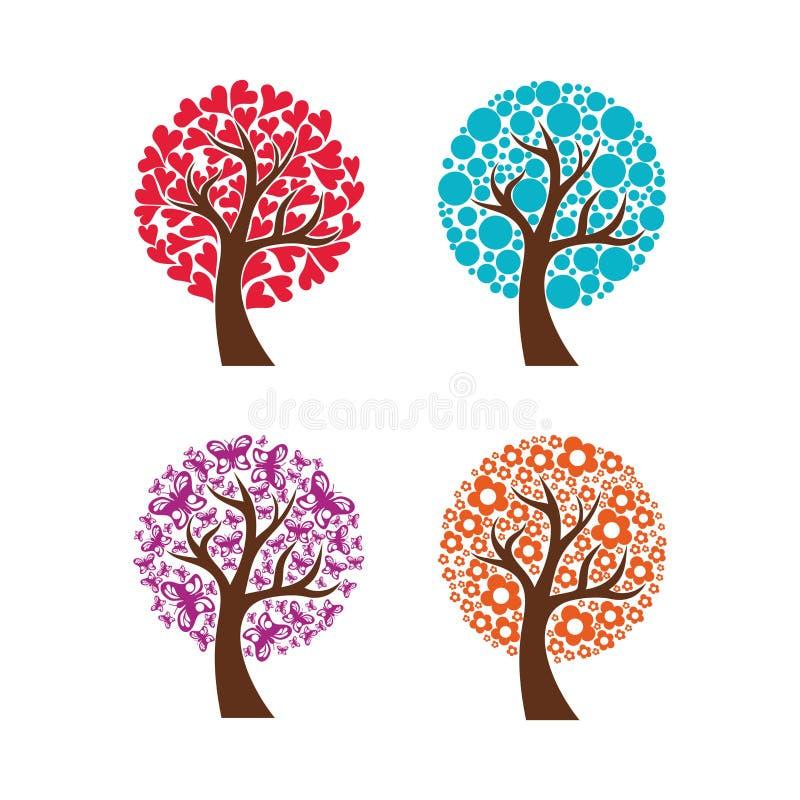 En samling av färgrika träd också vektor för coreldrawillustration royaltyfri illustrationer