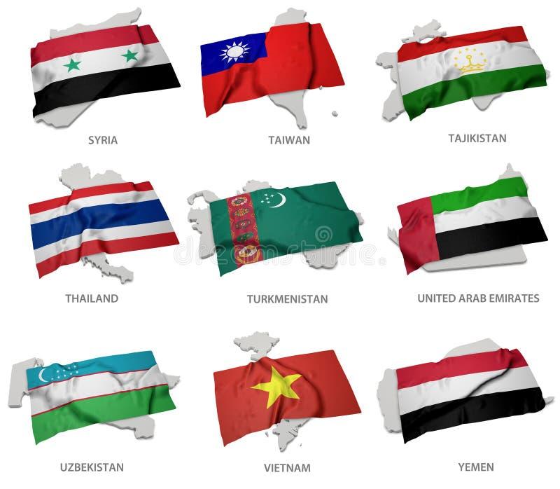 En samling av flaggorna som täcker motsvara, formar från några asiatiska tillstånd royaltyfri illustrationer