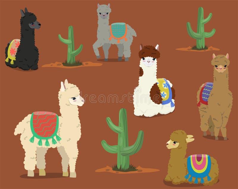 En samling av gulliga alpacas och kakturs vektor f?r set f?r tecknad filmhj?rtor polar vektor illustrationer