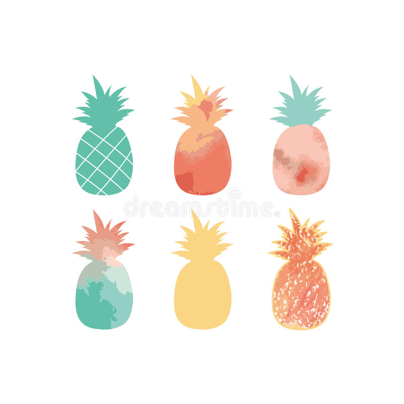 En samling av gulliga ananaskonturer också vektor för coreldrawillustration vektor illustrationer