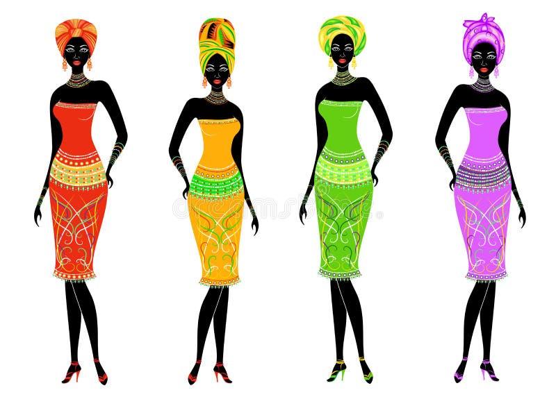 En samling av h?rliga afrikansk amerikandamer Flickor har ljus kl?der, en turban p? deras huvud Kvinnor ?r unga och slanka stock illustrationer