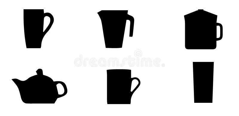 En samling av k?ksger?d och att h?nga p? st?ng och under st?ngen runt om svala f?r stand f?r silhouette f?r filialflugaillustrati royaltyfri illustrationer
