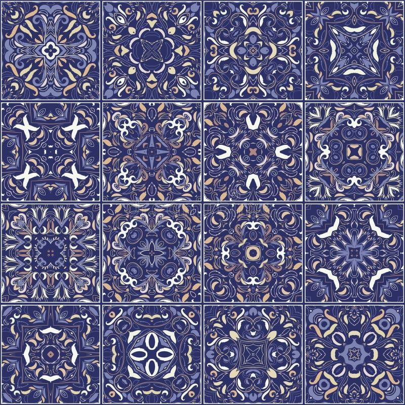 En samling av keramiska tegelplattor i retro färger vektor illustrationer