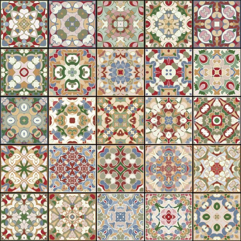 En samling av keramiska tegelplattor i retro färger royaltyfri illustrationer