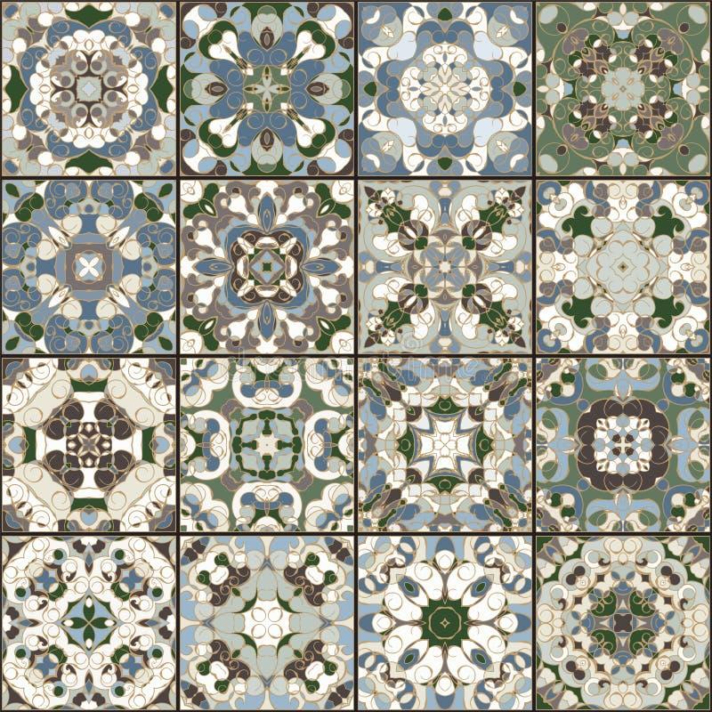 En samling av keramiska tegelplattor i retro färger stock illustrationer