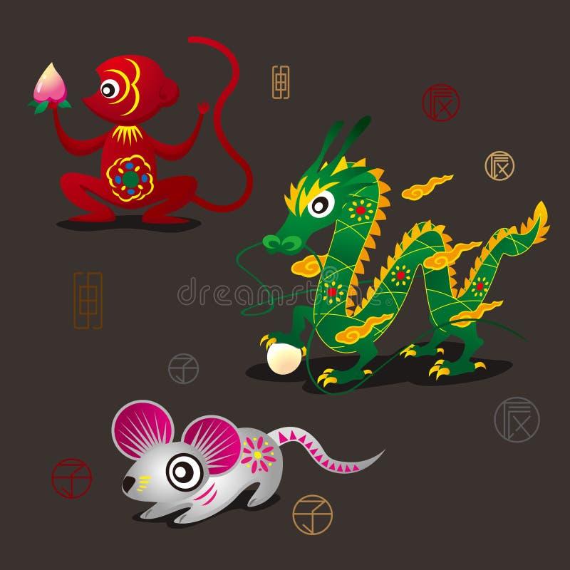 Kinesiska Zodiacmaskotar: Apan drake och tjaller royaltyfri illustrationer