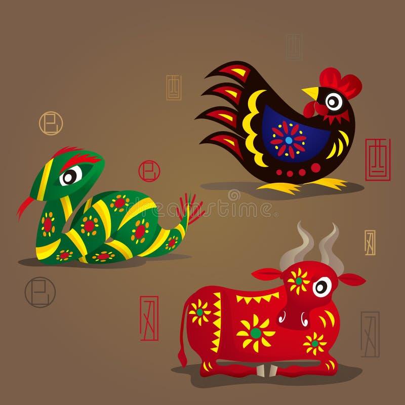 Kinesiska Zodiacmaskotar: Rooster, orm och oxe royaltyfri illustrationer