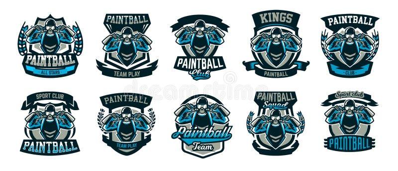 En samling av logoer, emblem, en person som spelar paintball, rymmer två vapen Laglek, ammunition, skjutbana, krig stock illustrationer