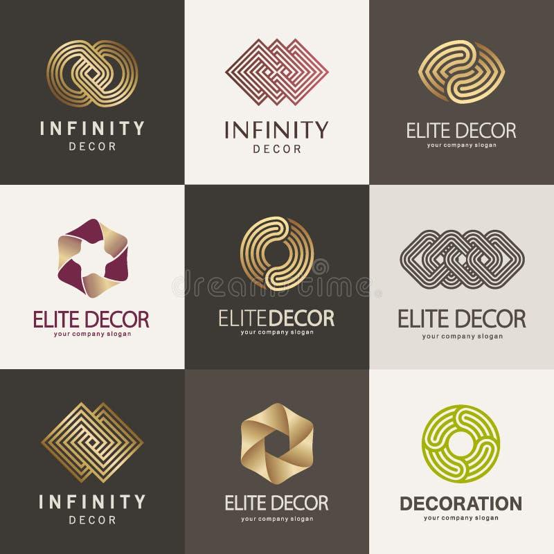 En samling av logoer för inre, möblemang shoppar, dekorobjekt och hem- garnering royaltyfri illustrationer