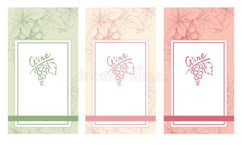 En samling av mellanrum av tappningvinetiketter royaltyfri illustrationer
