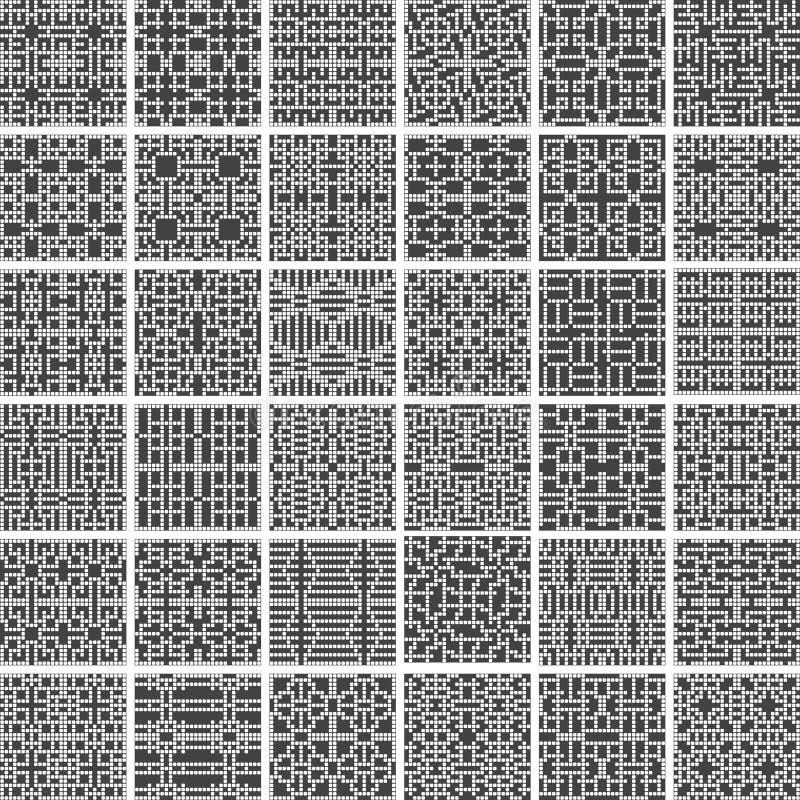 En samling av 36 monochromatic sömlösa modeller för geometrisk gråskala som göras av rundade fyrkantiga former, vektorillustratio royaltyfri illustrationer
