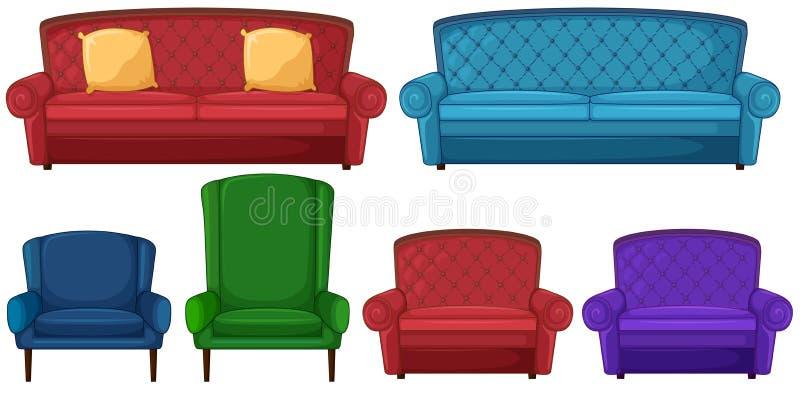 En samling av olika stolar royaltyfri illustrationer