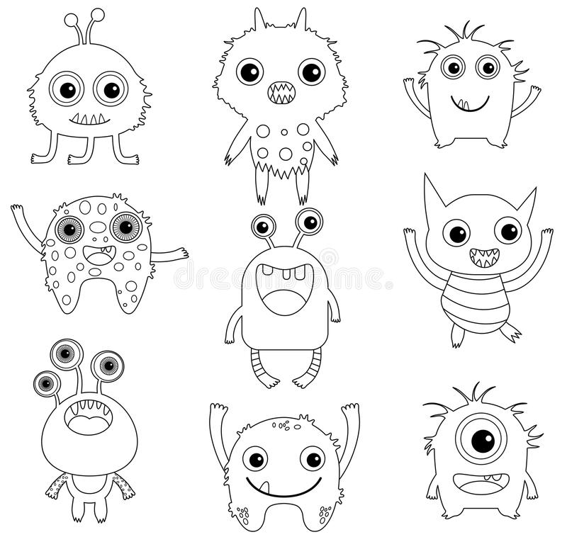 En samling av roliga och gulliga monster stock illustrationer