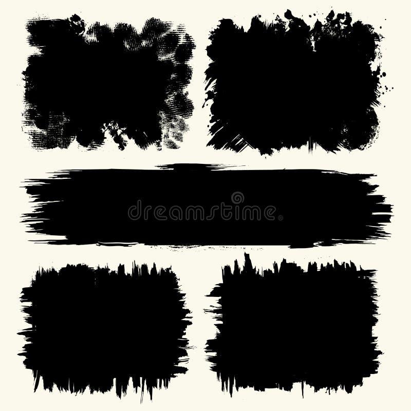 En samling av substrates och bakgrunder som skapas av svart målarfärg, slaglängder och borsteslaglängder, fläckar och sprutmålnin stock illustrationer