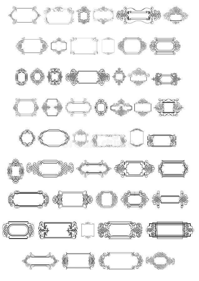 Calligraphic gränsar och inramar x 48 vektor illustrationer