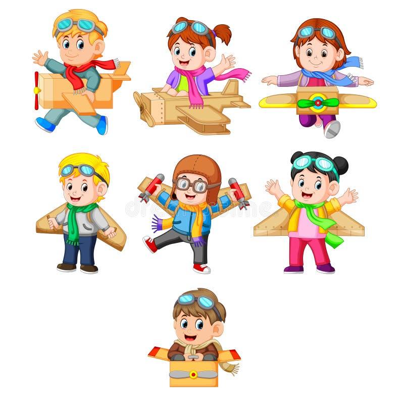 En samling av ungarna som spelar med kartongnivån vektor illustrationer