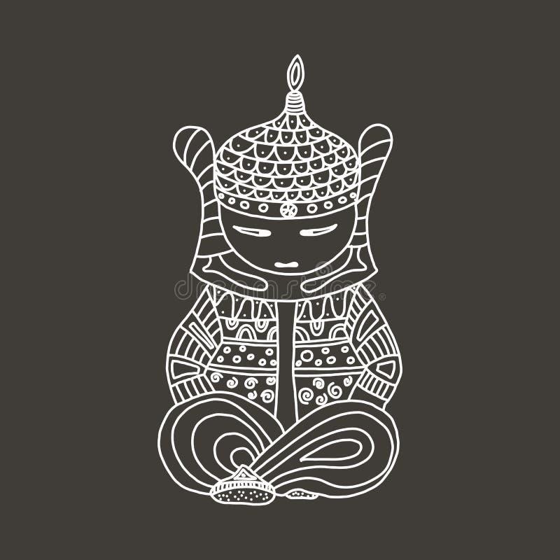 En samuraj sitter i en meditation poserar Logo vektorillustration för kampsporter illustrationhanddraw stock illustrationer