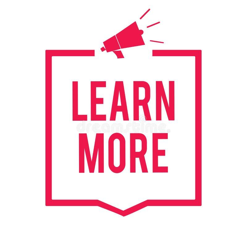 En savoir plus des textes d'écriture de Word Concept d'affaires pour la connaissance Deepen de la chose que vous voulez faire ou  illustration stock