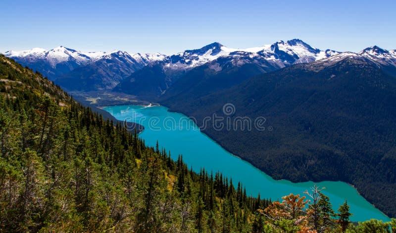 En scenisk landskapsikt av Cheakamus sjön royaltyfri foto