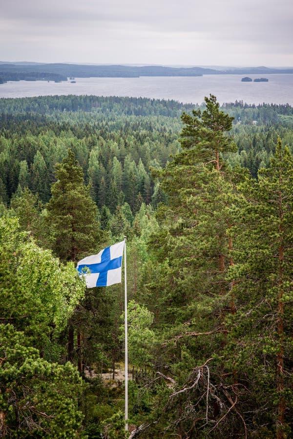 En scenisk sikt av en sjö och en pinjeskog med den finlandssvenska flaggan royaltyfria foton