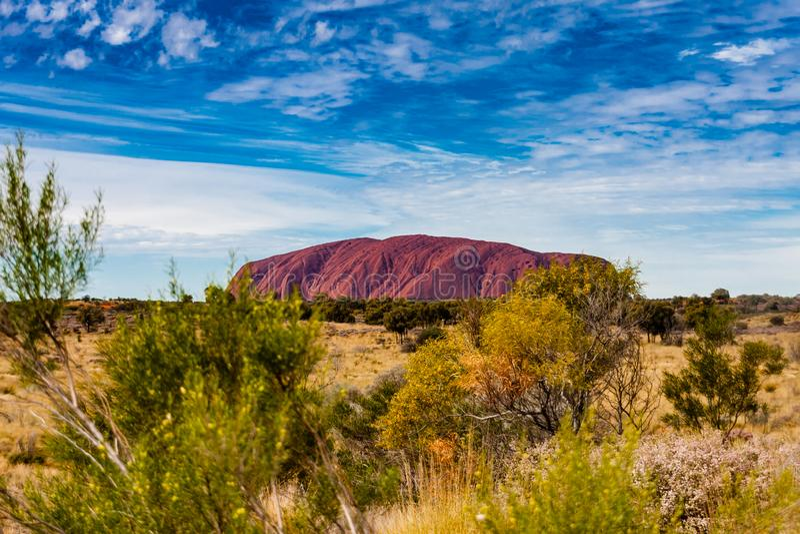 En scenisk sikt av Uluru Ayers vaggar, Australien royaltyfria foton