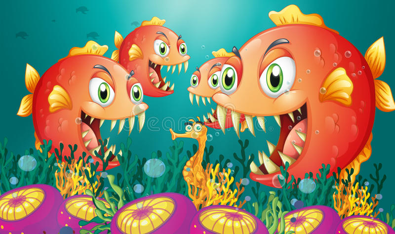 En seahorse som omges av en grupp av hungriga piranhas stock illustrationer