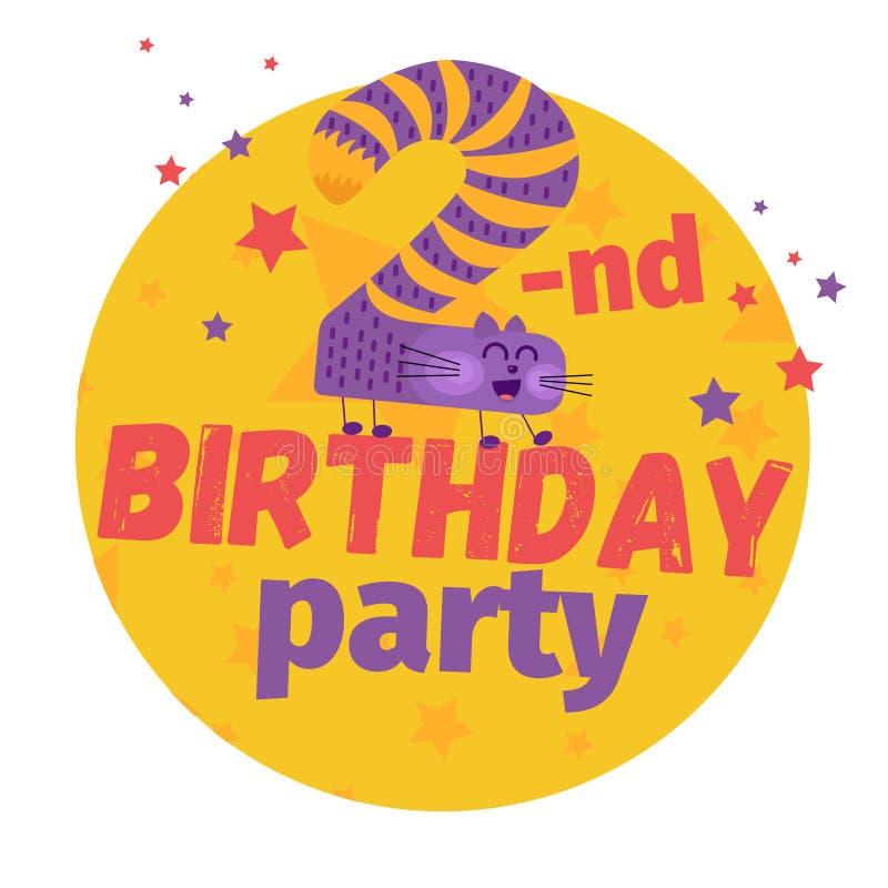 En second lieu ou 2ème carte de voeux ou carte postale de fête d'anniversaire cartoon illustration libre de droits