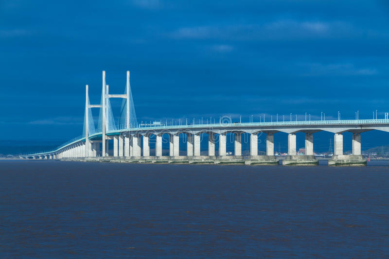 En second lieu Severn Crossing, pont au-dessus de Bristol Channel entre l'Angleterre images libres de droits