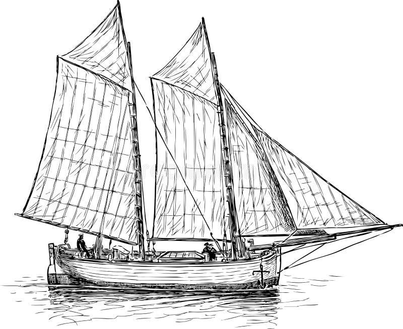 En seglingfiskebåt i havet royaltyfri illustrationer
