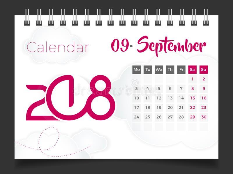 En septiembre de 2018 Calendario de escritorio 2018 stock de ilustración