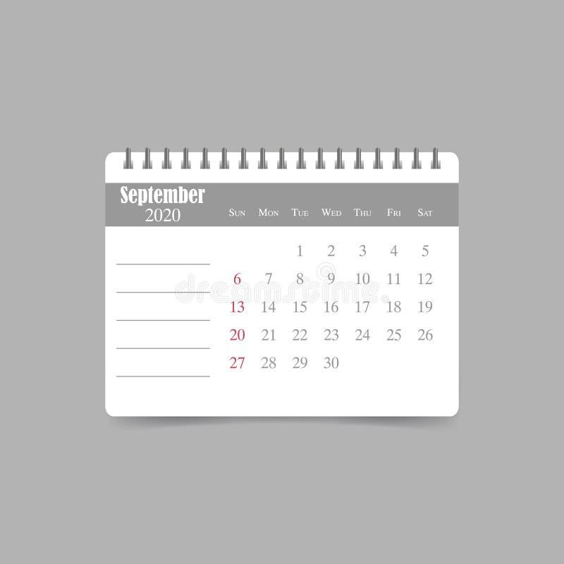 En septiembre de 2020 calendario La semana comienza domingo libre illustration