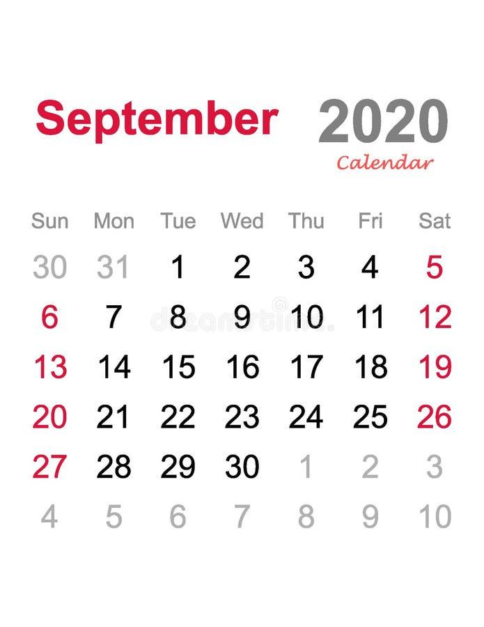 En septiembre de 2020 calendario - plantilla mensual del calendario - calendario mensual 2020 libre illustration