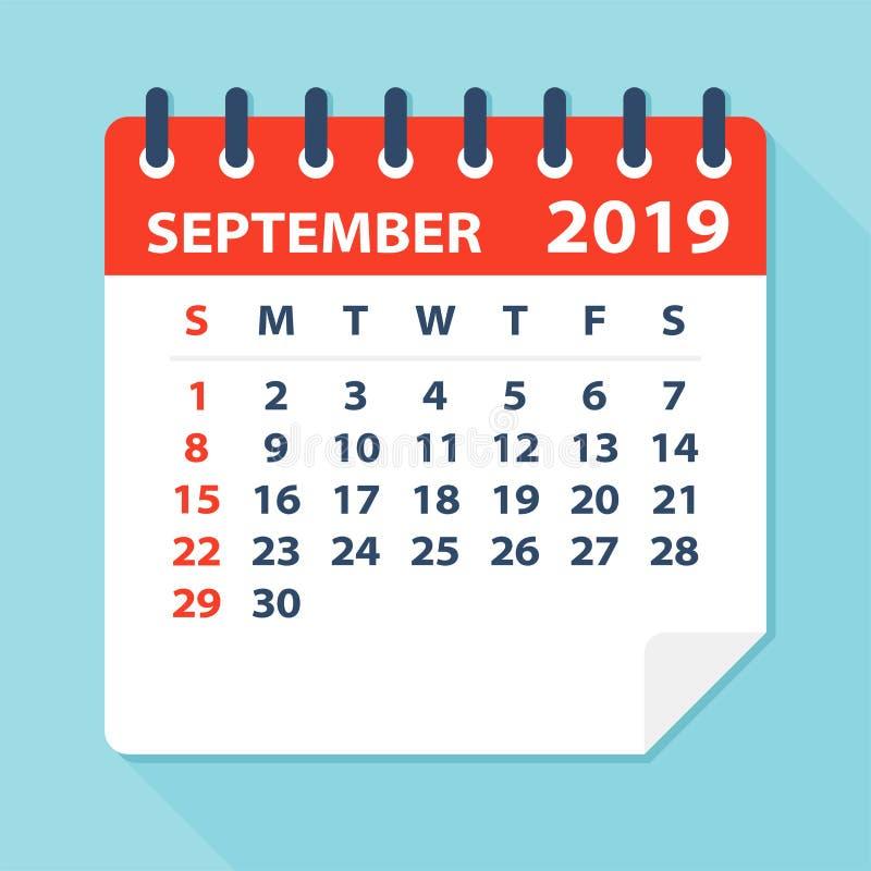 En septiembre de 2019 hoja del calendario - ejemplo del vector stock de ilustración