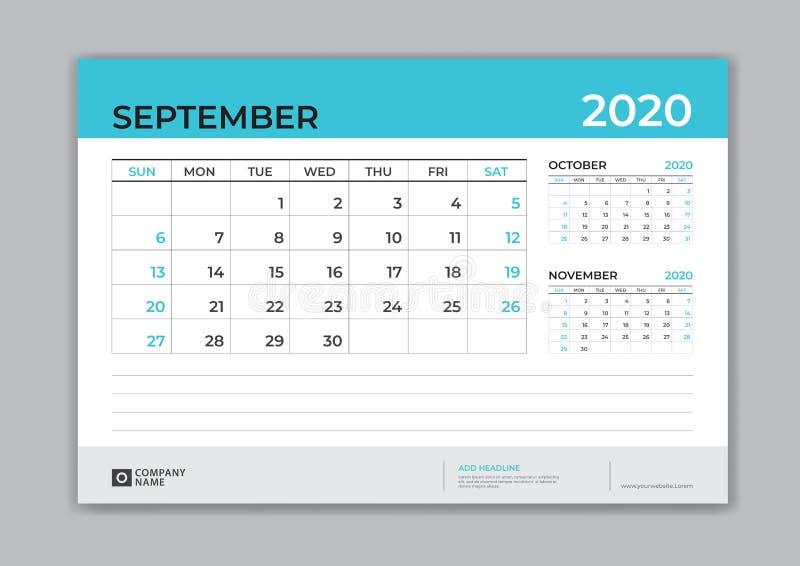 En septiembre de 2020 plantilla, calendario de escritorio por 2020 años, comienzo de la semana el domingo, diseño del planificado ilustración del vector