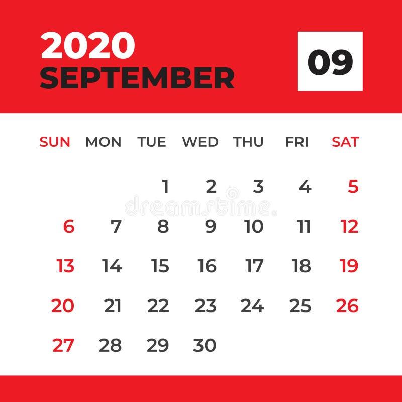 EN SEPTIEMBRE DE 2020 plantilla, calendario de escritorio por 2020 a?os, comienzo de la semana el domingo, dise?o del planificado libre illustration
